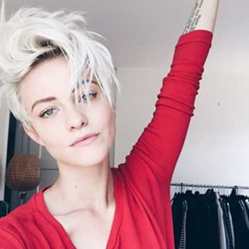 Platinum Blonde Pixie Crop Hairstyle
