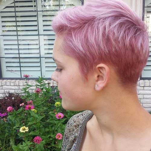 Pink Pixie Cut Hairstyle