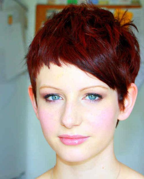 Short Dark Red Pixie Cut