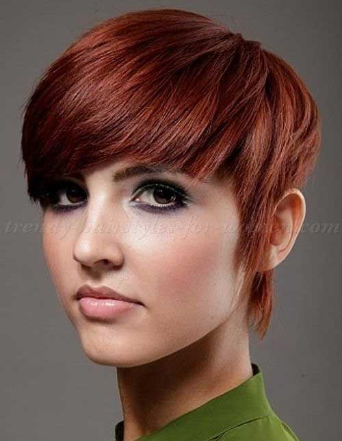 Auburn Blunt Cut Pixie Hair