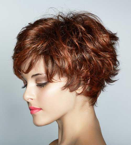 Auburn Wavy Pixie Haircut