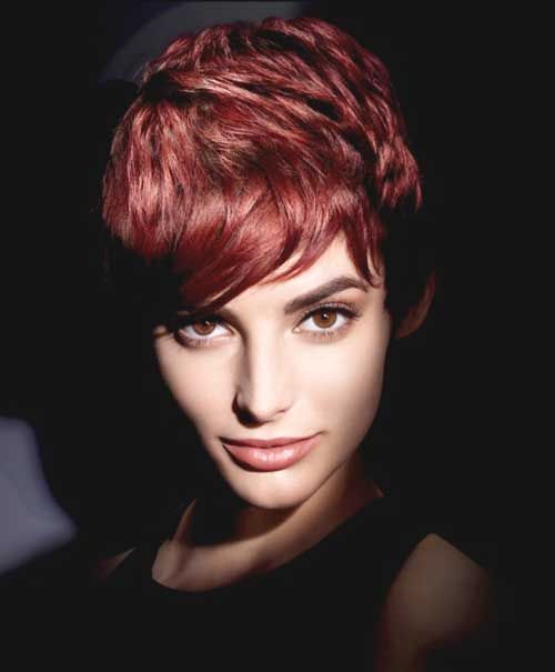 Auburn Short Wavy Pixie Hair Cut