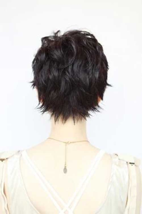 Back View of Dark Pixie Haircut