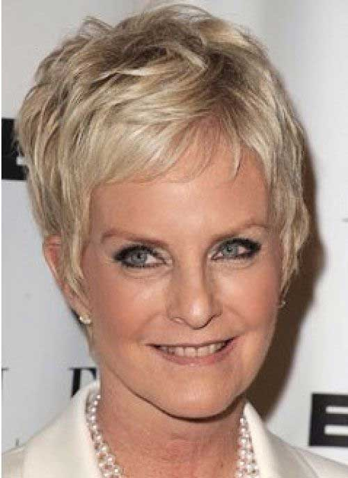 Blonde Trendy Pixie Haircut for Older Ladies