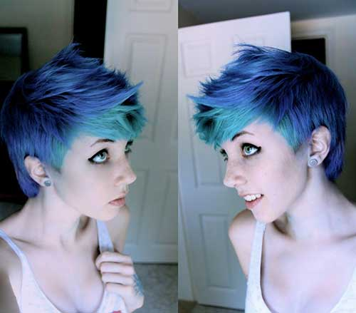 Blue Colored Spiky Pixie Hair