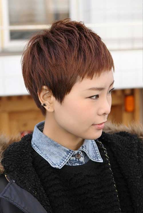 Brown Pixie Cut with Bangs 2015