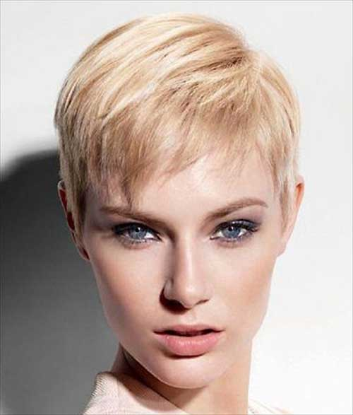 Female Light Blonde Pixie Hair Cut