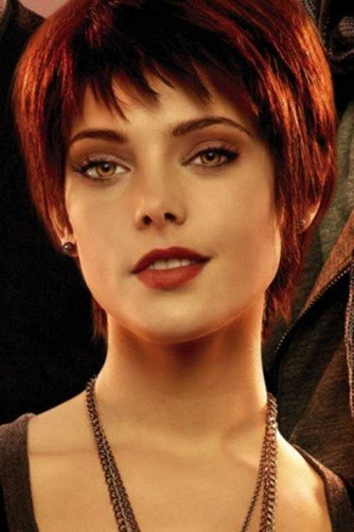 Female Red Pixie Hair Cut