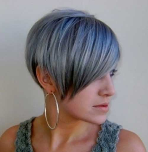 Grey Long Pixie Hair Cut Ideas