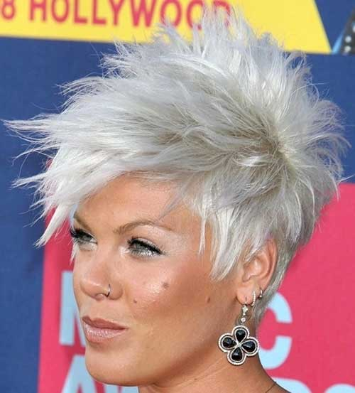 Grey Spiky Pixie Hair Cuts