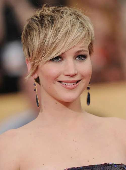 Jennifer Lawrence Long Pixie Hair