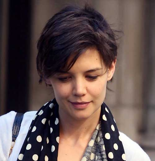 Katie Holmes Pixie Brown Hair Cut
