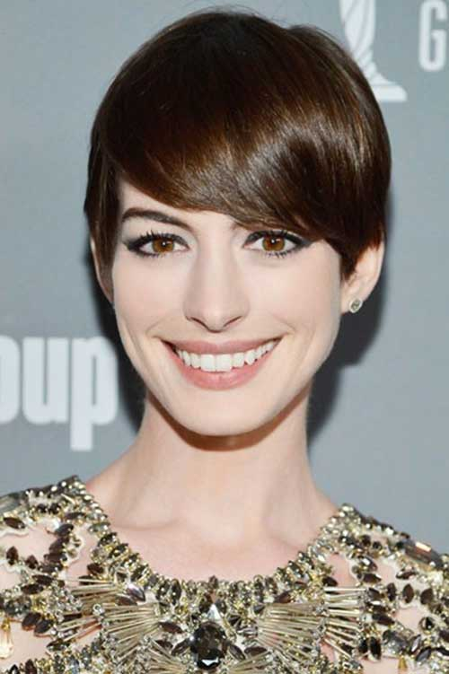 Layered Pixie Cuts Dark Brown Hair