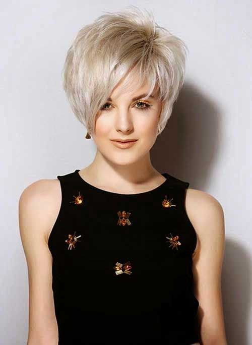 Layered Blonde Pixie Haircuts with Bangs