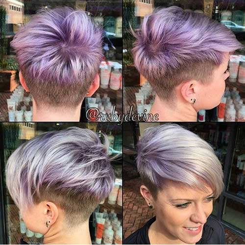 Levander Colored Long Pixie Cut Style