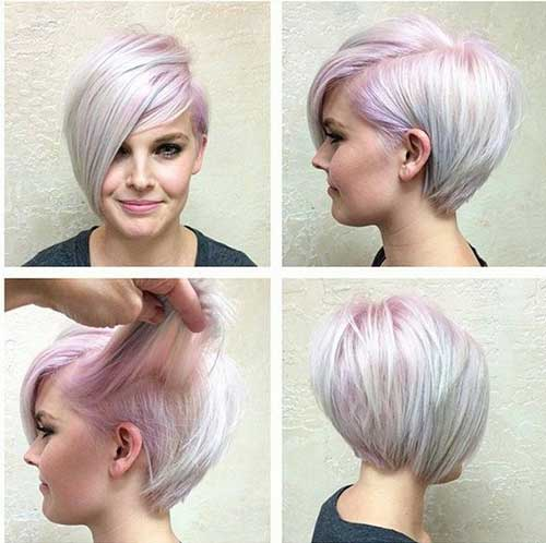 Light Pink Pixie Bob Cut Hairstyle