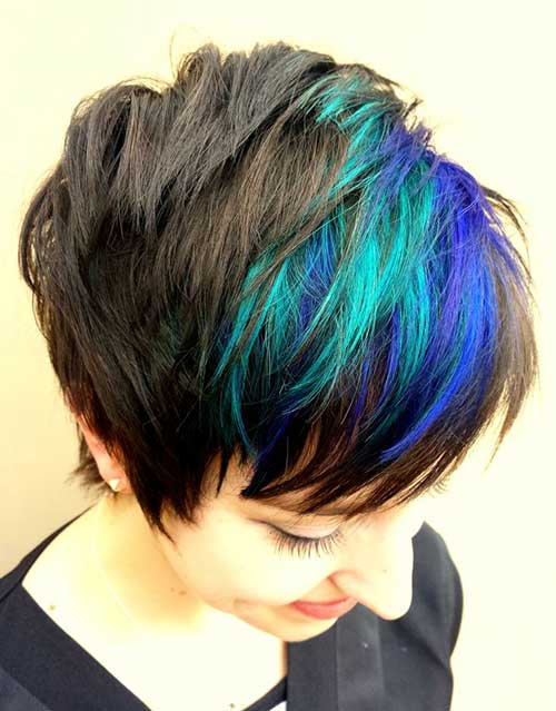 Long Blue Highlighted Pixie Hair Color Ideas