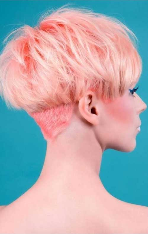 Peachy Pink Pixie Hairstyle