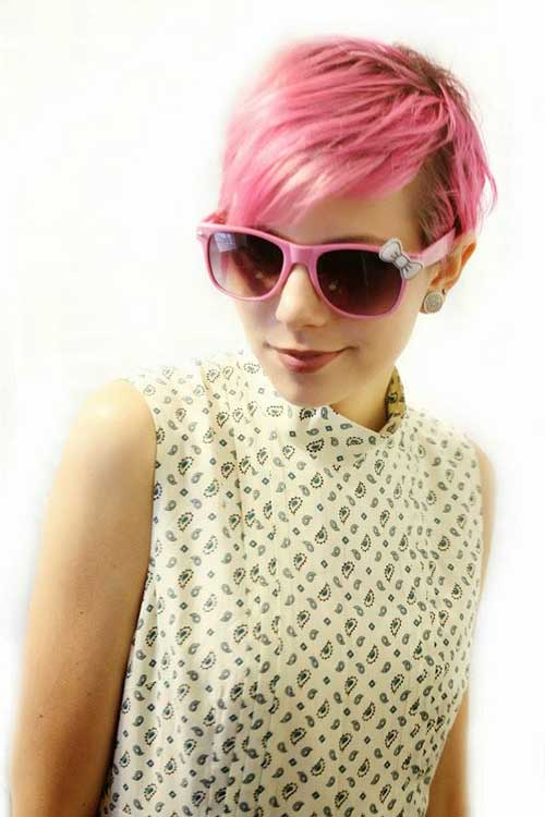 Pink Colored Pixie Cut Hairstyle