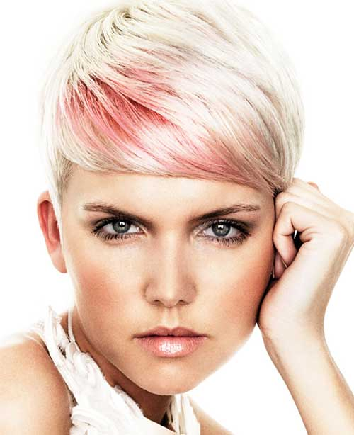 Pink Highlighted Pixie Hair Color Ideas