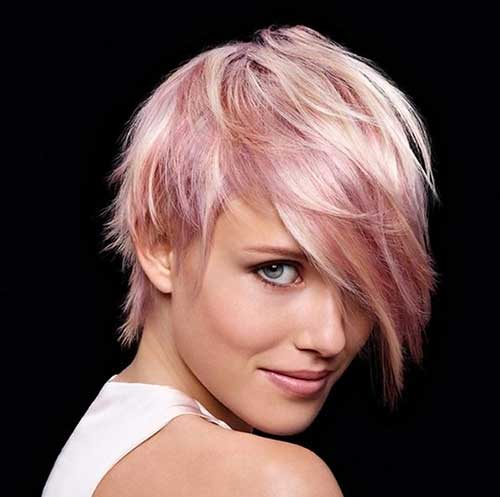 Pink Long Pixie Cut Hairstyle