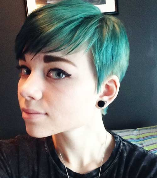 Pixie Cut Green Blue Colored Hair