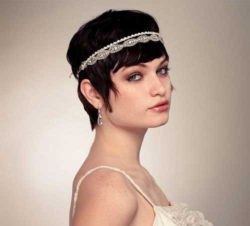 Pixie Hair with Blunt Bangs for Wedding Styles