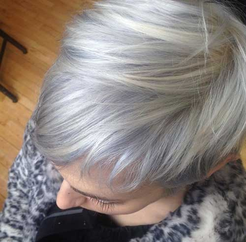 Pixie Haircut Grey Straight Hair