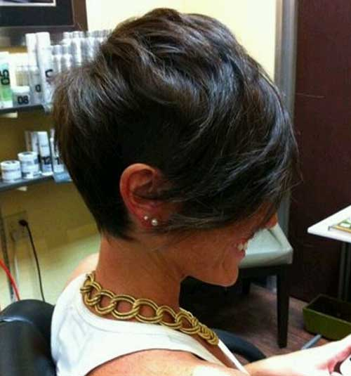 Dark Pixie Haircut with Long Sides
