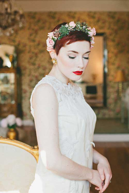 Pixie with Flowers Hairstyles for Wedding Hair