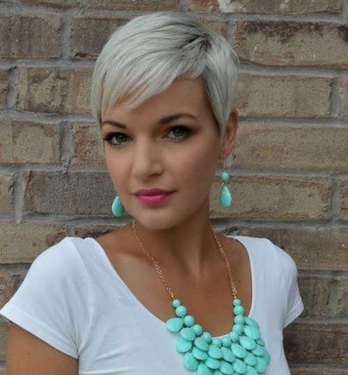 Platinum Blonde Pixie Cropped Haircut