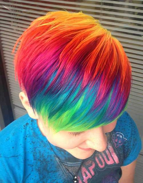 Rainbow Colored Pixie Hair Cuts