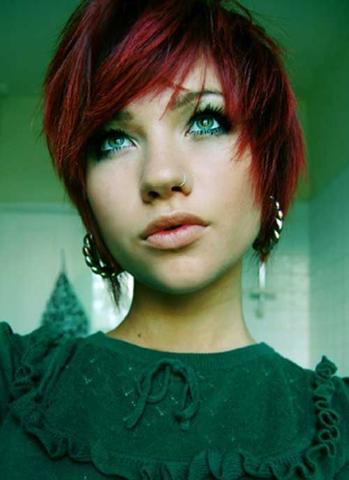 Red Dyed Pixie Hair Cuts