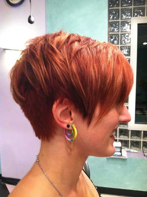 Red Long Choppy Pixie Hair