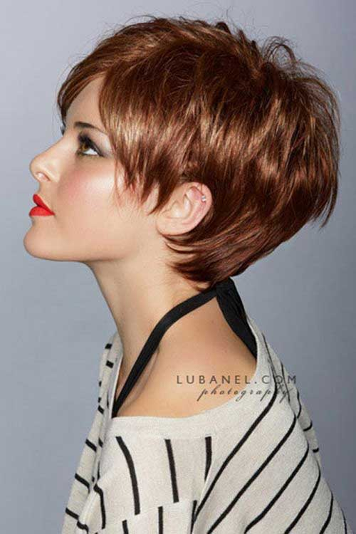 Shinny Brown Pixie Hair Color Ideas for Women
