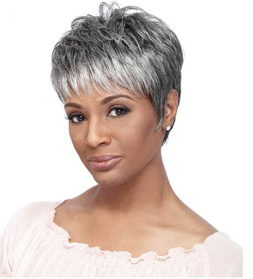 Short Grey Pixie Haircut for Older Ladies
