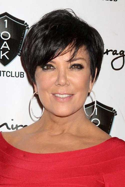 Dark Short Pixie Hairstyles for Women Over 50