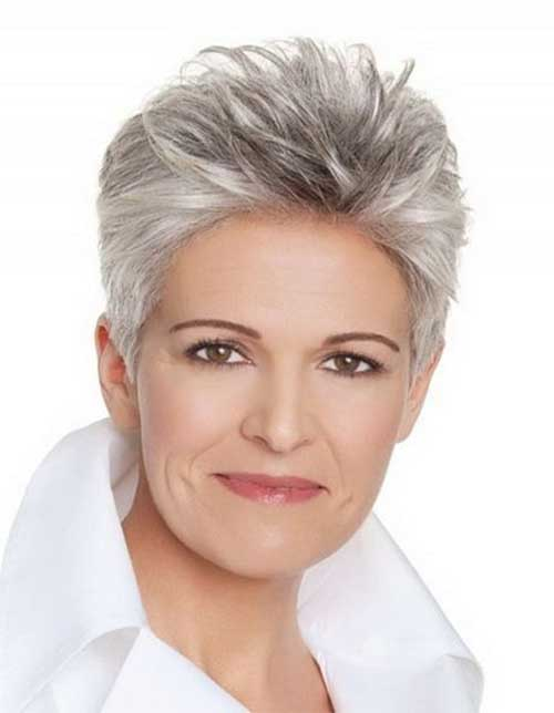 Short Spiky Gray Pixie Haircuts