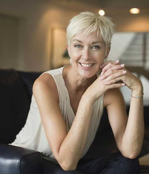 Straight Hair Pixie Cuts for Women Over 50