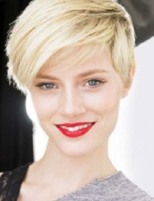 Straight Trendy Blonde Pixie Haircut