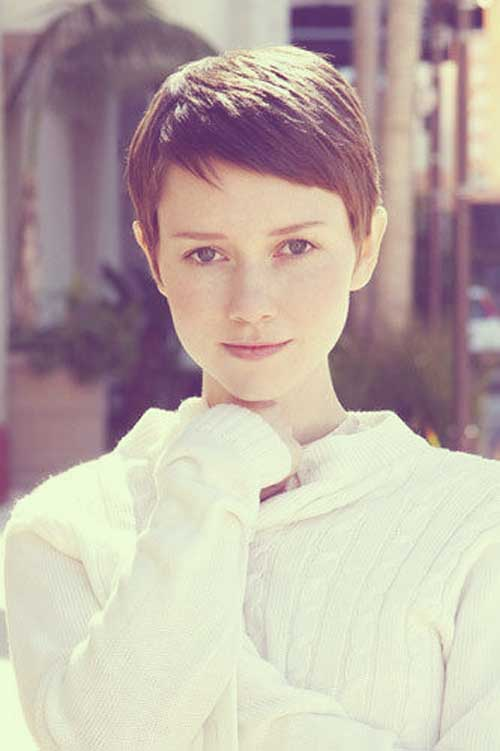 Super Short Pixie Brown Hair Cuts