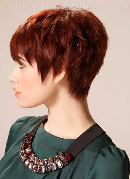 Textured Layered Red Pixie Hair Cuts