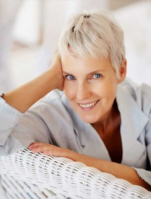 White Pixie Haircut Style for Older Ladies