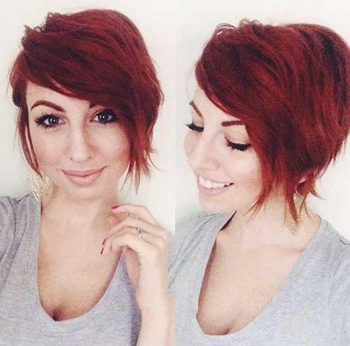 Asymmetrical Red Pixie Hair Cuts