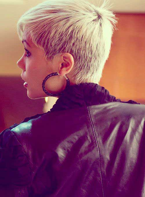 Blonde Short Pixie Hair Back View Look