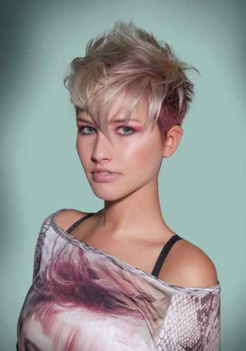 Blonde and Pink Quick Pixie Haircut