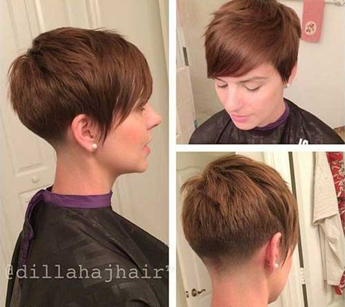 Brown Pixie Tapered Nape Hair