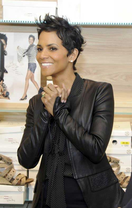 Halle Berry Dark Pixie Cut