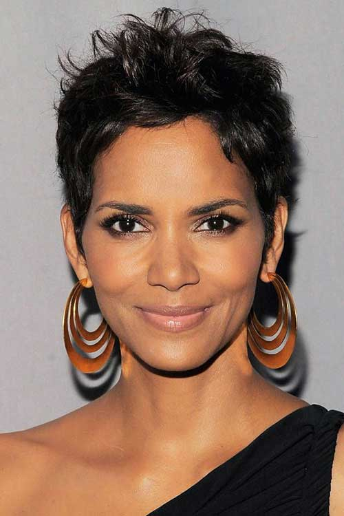 Halle Berry Pixie Dark Hair Cut