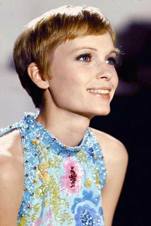 Mia Farrow Pixie Cut Hair
